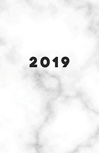 2019: Planer ab 1. Juli bis 31. Dez | 1 Tag auf 1 Seite Termin-Kalender mit Uhrzeit | Wochenplaner Format ca. A5 | Weiß Marmor Motiv -