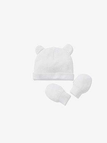 VERTBAUDET Bonnet bébé et moufles en jersey de coton bio Blanc PREMA -  40 45CM.
