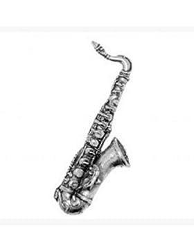 Verpacktes Geschenk Zinn Musik Musiker Saxophon Krawatte - Reversnadel / Brosche / Anstecker