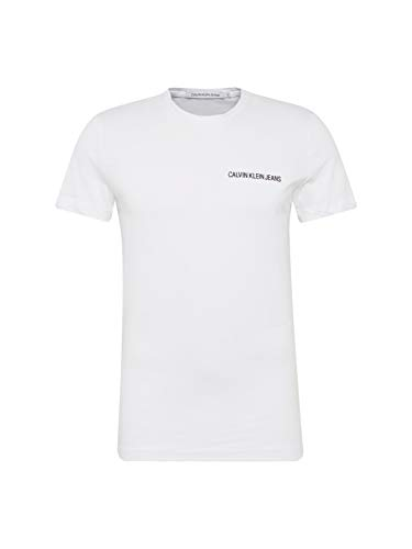 Calvin Klein Jeans Herren Chest Institutional Slim Ss Tee T-Shirt, Weiß (Bright White 112), Medium (Herstellergröße: M) -