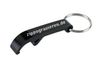 3 Stk. Schlüsselanhänger mit Flaschenöffner aus Aluminium inkl. Gravur, Farbe des Flaschenöffners:Schwarz