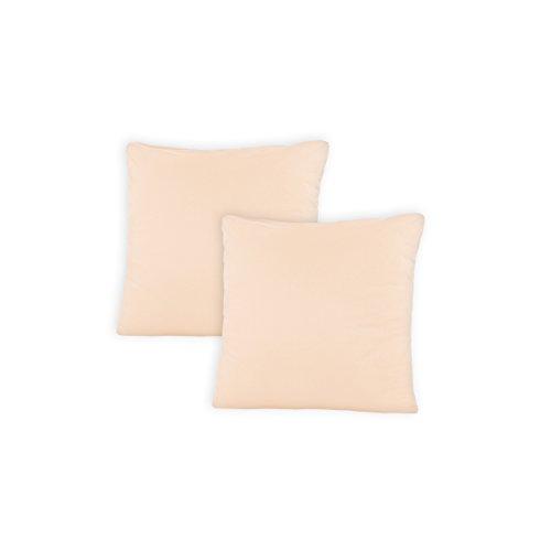 SHC - Kissenbezug 2er-Set für Dekokissen, 100% Baumwolle mit Reißverschluss - 50x50 cm, Linen/beige -