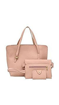 Tradico® 4pcs/Set Women Solid PU Handbag+Shoulder Bag+Clutch+Card Bag(Pink)