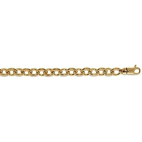 Oro Giallo 14K 7,7mm ovale cavo Link solido–Braccialetto 20centimetri