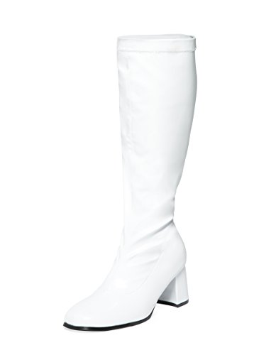 White Knee High Disco Go-Go Boots - All Sizes.