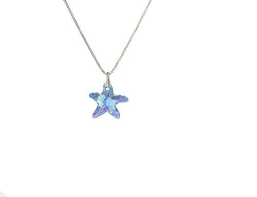 Kristallwerk, Kinderkette 925 Silber mit SWAROVSKI ELEMENTS Seestern Pendant in der Farbe Crystal Aquamarine Aurore Boreale