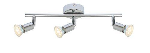 Lampadario moderno cromato lucido, 3 luci, attacco GU10, barra dritta, compatibile con LED