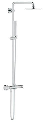 Grohe 27932000 euphoria system colonna miscelatore termostatico e soffione, dimensioni 152 x 152 mm, manopola doccia monogetto, cromo, ecojoy