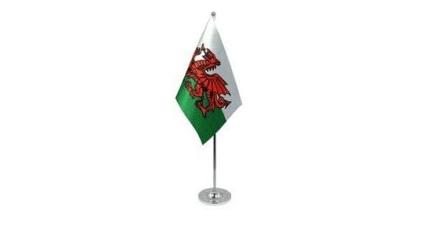 "Wales Welsh Dragon Satin Flag with Chrome Base Table Desk Flag Set 9/"" x 6/"""