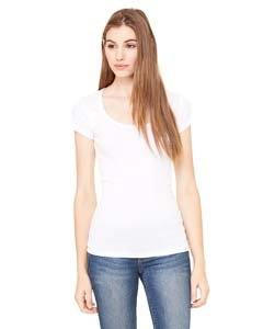 Bella+Canvas: Sheer Mini Rib Scoop Neck T-Shirt 8703:00:00, Größe:XL;Farbe:White -