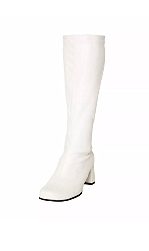 70er Günstige Jahre Und Kostüm 60er - Gizelle Damen Karneval Go Go Stiefel 1960er & 70er Jahre Retro Größen 3-12, Weiß - weiße Lacklederoptik - Größe: 39.5