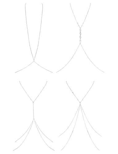 Finrezio Thin Sexy Cross Body Belly Ketten Halskette Schmuck Für Frauen 4 Stücke Ein Satz