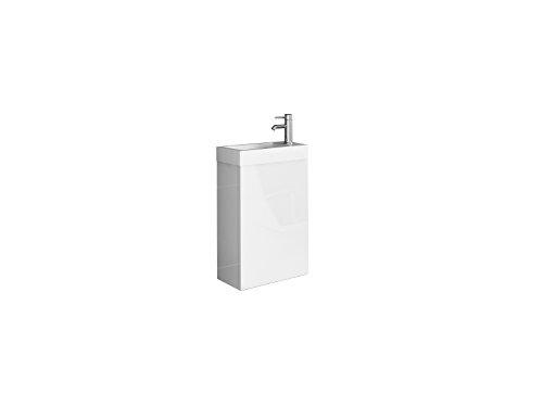 SAM® Mueble con lavabo de 40 cm, armario de baño blanco, superficie lustrosa, lavamanos de pequeñas dimensiones para el cuarto de baño