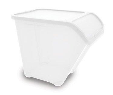 Kiss 3x Groß Stapelbar Abfall/Recycling/LAUNDRY Sorting Kunststoff Mülltonnen Boxen & Deckel weiß