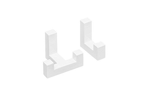 Gedotec Wand-Haken eckig Kleiderhaken Tür Metallhaken Vintage - TETRIS | Einzelhaken + Doppelhaken weiß matt | Garderoben-Haken Metall unsichtbar verschraubt | 1 Set - Aufhänger für Wand-Montage