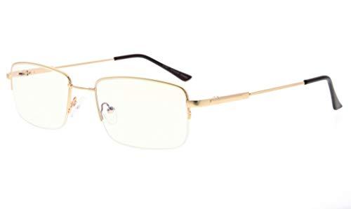 Eyekepper Halber Felge Lesen Gläser-Blau Licht Blockierung-Reduzierte Auge Belastung-Memory Computer Brille Titanium Leser Männer, Transparente Linse (Gold,+2.25)