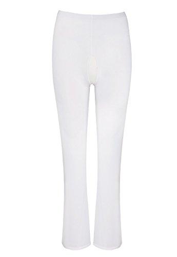 YiZYiF Transparente Leggings Damen Netz Bell-Bottom Hosen Reizwäsche Dessous Erotik Unterwäsche M XL Weiß (Ouvert) XL