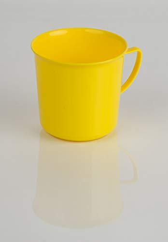 Kimmel Henkelbecher Henkeltasse Teetasse Kaffeebecher Mehrweg bruchsicher 330 ml, Kunststoff, Gelb