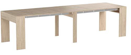 Home Innovation - Ausziehbarer Konsolentisch, Esstisch, bis 301 cm, Eiche hell, Maße geschlossen: 90 x 49 x 75 cm Höhe.
