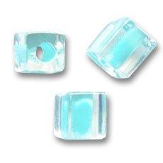 Miyuki Würfel 4mm SB4-220- Crystal Mist Aqua Lined x10g (Lined Crystal Aqua)