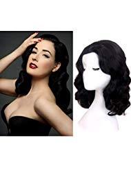 STfantasy Schwarz Perücke Retro Elegant Natural Wave gelockt gewellt wig für Frauen Kostüm 1920s 70s Party Karneval ()
