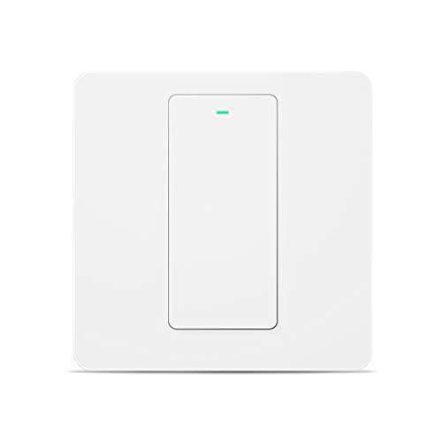 Smart Lichtschalter Meross WLAN Wandschalter, 1 Gang benötigt Nullleiter, physische Taste Schalter, kompatibel mit Alexa, Google Home und SmartThings, 2,4 GHz, Kein Hub erforderlich, MSS510XEU