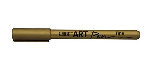 Kreul 47952 - Art Pen fine, für Beschriftungen und Verzierungen von Geschenken, Karten, Einladungen, Tischkarten und vieles mehr, Strichstärke 1 - 2 mm, gold