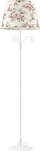 Stehlampe Creme Pink Blumen Motiv 165cm Relief Säule E27 Metallverzierungen Landhaus Stehleuchte Standleuchte Standlampe