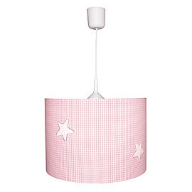 Waldi Pendelleuchte Karo rosa/weiß mit Sternen 1-flg.