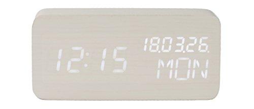Cuco Clock Holz-Wecker Datums-Anzeige Wochentags-Anzeige Temperatur programmierbar USB Batterien dimmbar Sound-Steuerung
