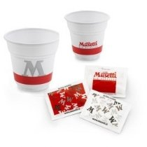 150 pezzi di bustine di zucchero Musetti, bicchierini Musetti e palettine