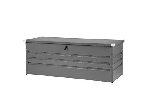 Beliani Auflagenbox aus Metall Graphitgrau Gartentruhe Outdoor Kissenbox 600l Cebrosa