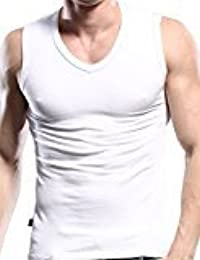 EDTara Men's Elastic V Neck Sleepwear Lounge Cotton Sleeveless Slim Vest Tank Top Shirt Pajama White; Asia M