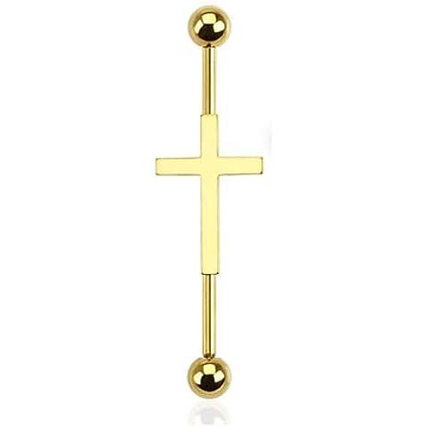Piercing Boutique–Crucifijo Cruz andamio Industrial Piercing Bar. 1,6mm grosor de la barra (14G) X 35mm longitud de la barra. Una pieza dorado