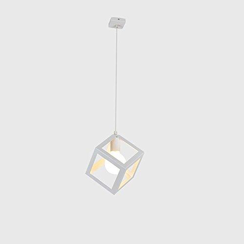 Lustre Métal Suspension Blanc E27 Carrés Café Créatif Bar Intérieur Maison Diamètre 7.87 In * Élevé 7.87 In [Classe Énergétique A +]