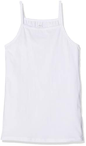 NAME IT Mädchen Top NKFSTRAP 2P SOLID NOOS, 2er Pack, Weiß (Weiß Bright White), 122