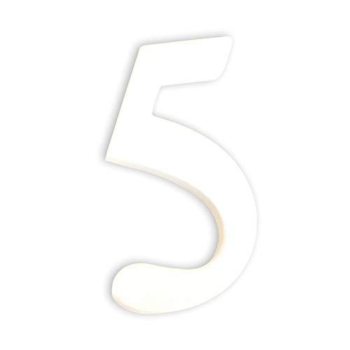 Décopatch AC345O Zahl 5 klein aus Pappmaché, 1,5 x 7 x 12 cm, zum Verzieren, weiß