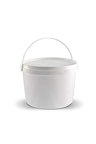 T4W Leere Kunststoff Eimer mit Deckel - Plastik - 10 x 3,0 Liter/Farbe: Weiss (59328) -