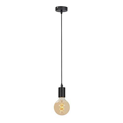 Briloner Leuchten Pendelleuchte, Pendellampe 1-flammig, Hängelampe Retro/Vintage, Black Steel, 1x E27 max. 60 Watt, Schwarz, W