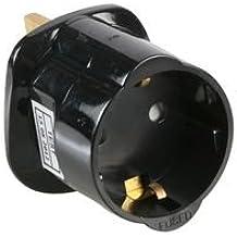Holiday travel adaptador en colour negro (enchufe europeo) de Alemania Europa 2-pin-Base SCHUKO (Shuko/Shuco) en alemán, europeos de Reino Unido/Inglés 3 pin enchufe-adaptador