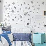 silber metallisch Sterne Aufkleber Wand Sticker Wandbild Dekorationen