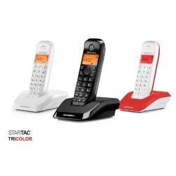 Motorola-S12-Trio-Telfono-fijo-color-blanco-negro-y-rojo