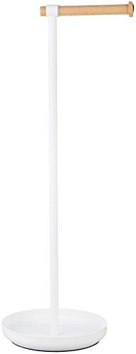 AmazonBasics - Toilettenpapierständer mit Aufbewahrung, Weiß/Buche