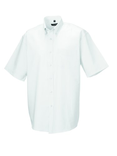 Z933 Kurzärmeliges Oxford Hemd Oberhemd Herrenhemd 5XL / 51/52,White (Oxford Herren Hemd)
