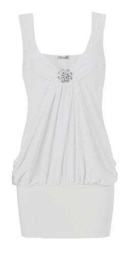 Fast Fashion Damen Armellose Anschneiden Ausführlich Drapieren Artebenen Partei Top Weiß