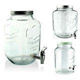 Saftspender 5/8 L aus Glas mit Zapfhahn Wasserspender Getränkespender Landh (6 L)