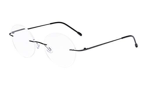Eyekepper Randlose Brillen Damen - Runde Randlose Brillen Herren Schwarz +1.25