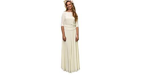 Vestido de Novia a Medida Traje de Boda para Mujer Elegante Sencillo Manga Larga para Ceremonia Civil o Religiosa