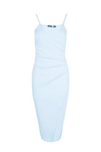 Bleu Femmes Inna Strappy Emballage Pleated Bodycon Midi Robe Bleu