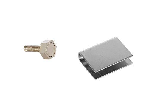 Preisvergleich Produktbild eliga Türmagnet 15 mm mit U-Haftblech für Glastüren 8 mm